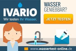 Comic-Bild einer Frau beim Testen des Leitungswassers - IVARIO Trink-, eitungs- und Nutzwasseranalysen